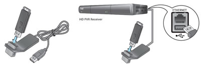 Plug the USB extension cradle into a USB port on your HD PVR receiver