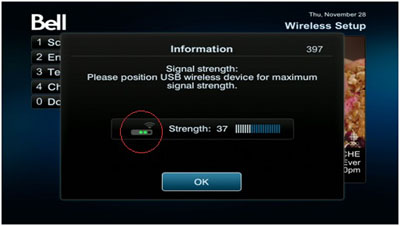 You will then see a signal strength screen