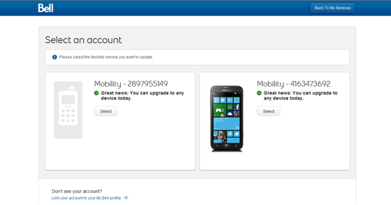 Select an account