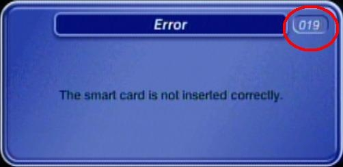 Error 019: The smart card is not inserted correctly