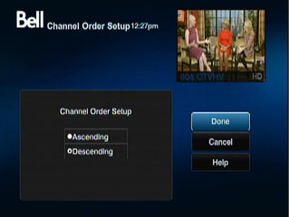 Channel Order Setup.